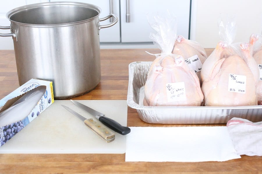 Materials for cutting up a whole chicken