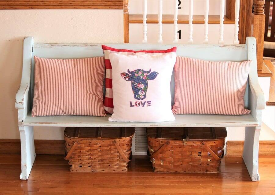 Valentine applique display pillow