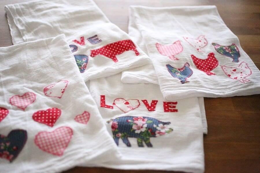 Valentine applique flour sack towels