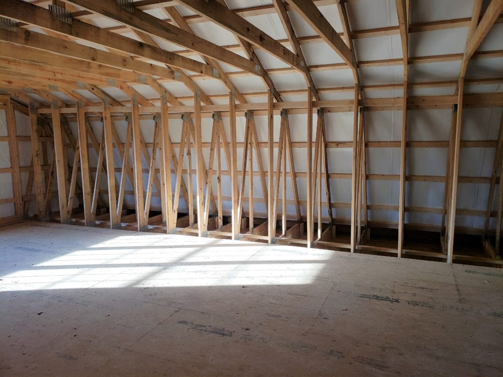 unfinished upstairs of pole barn