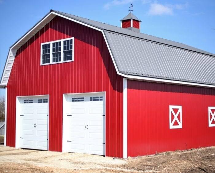 red metal pole barn