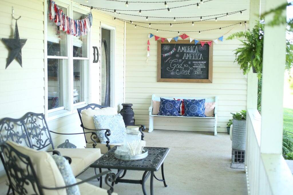 Patirotic porch pillow covers
