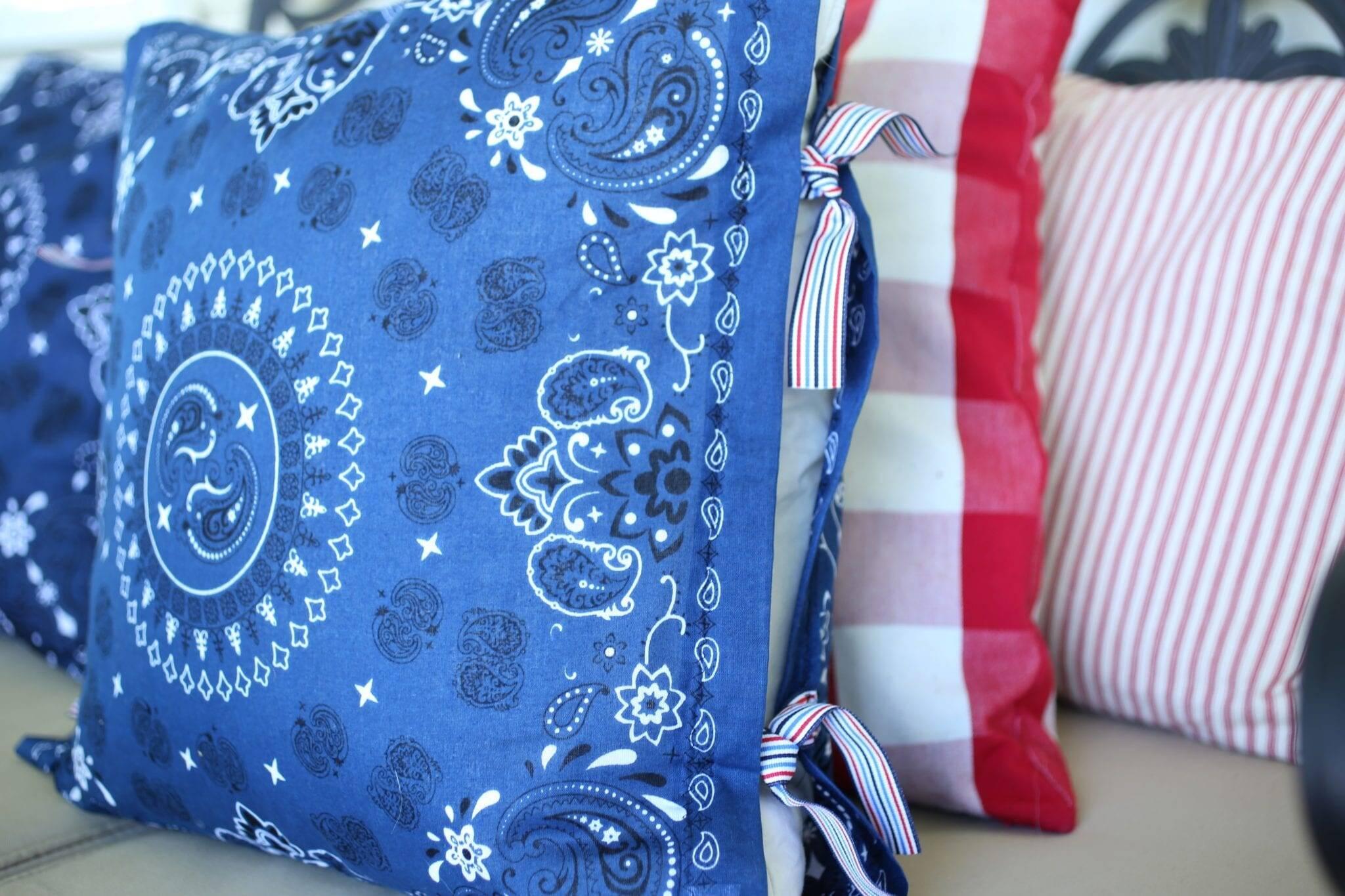 patriotic outdoor bandana pillows