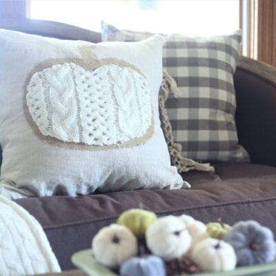 Pumpkin Pillow–Linen, Burlap and Cable Knit