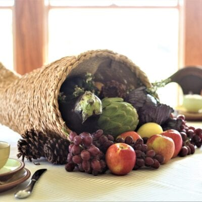 Handmade Cornucopia Centerpiece for a Thanksgiving Table