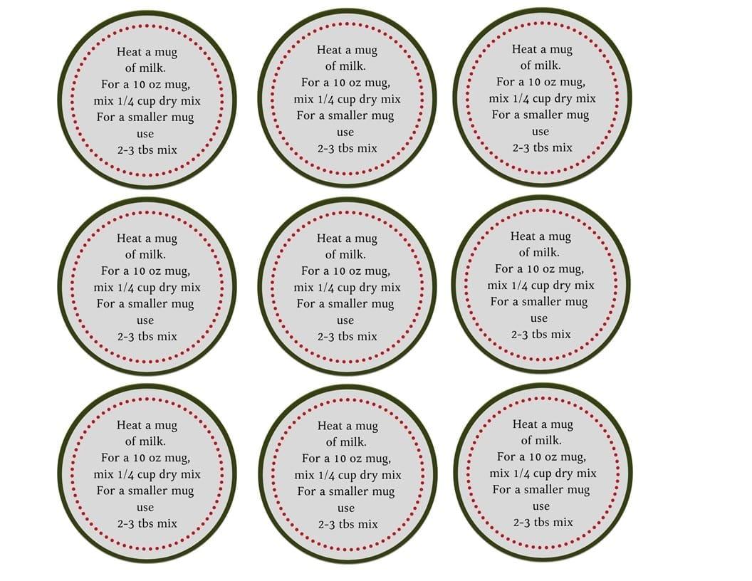 hot chocolate instruction label