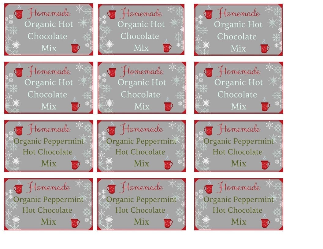 Organic Hot Chocolate Mix Label