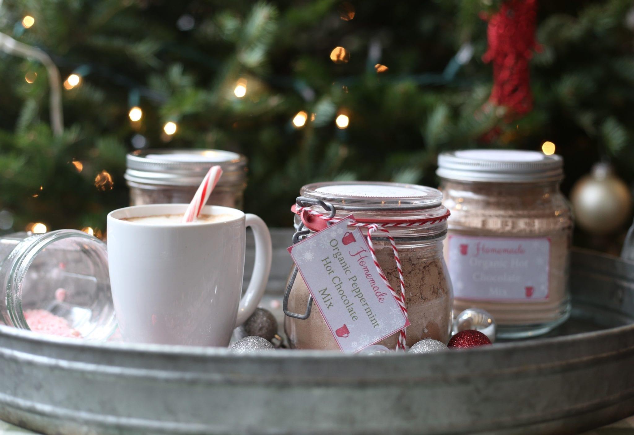 Tray of Homemade Organic Hot Chocolate Mix