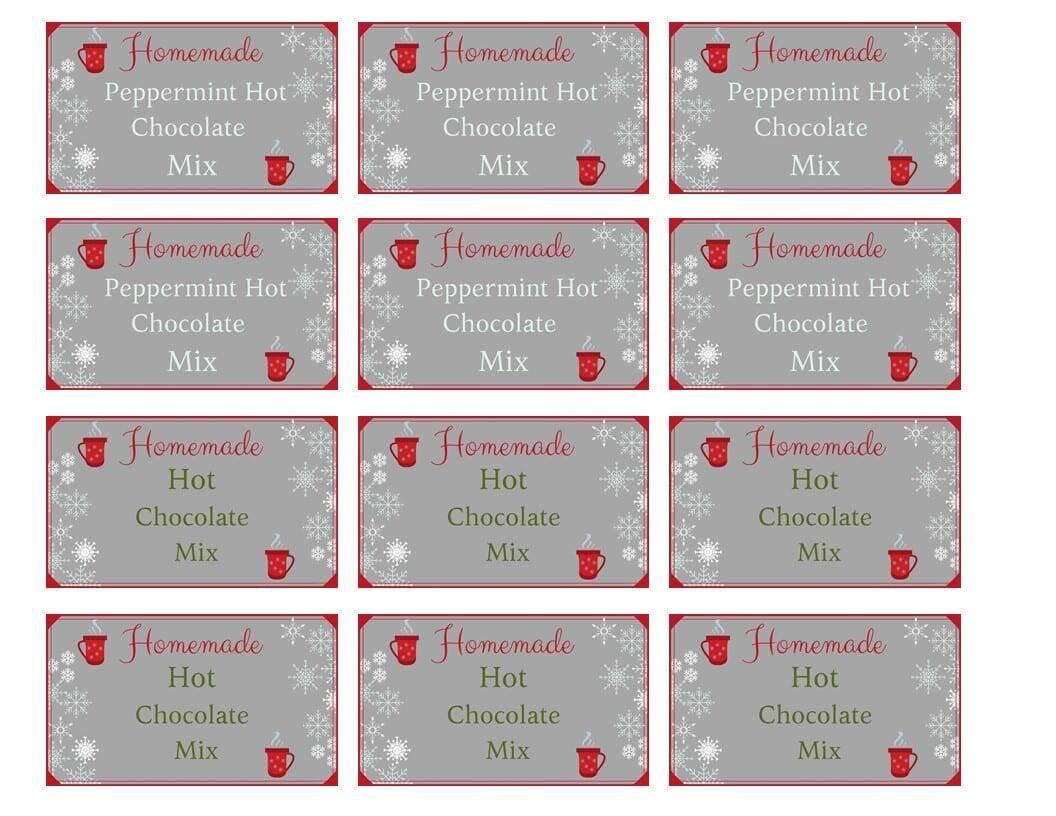 Hot chocolate mix label