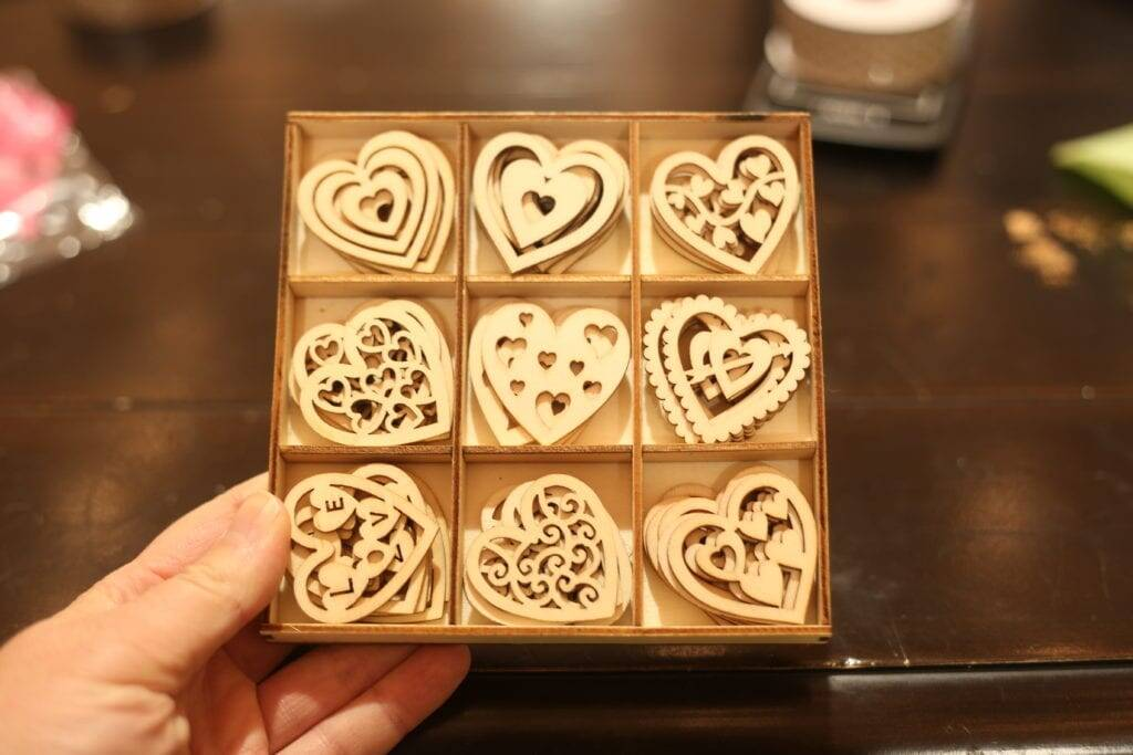 package of wooden hearts