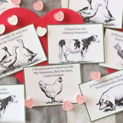 Cheesy Farm Valentines–Free Printable