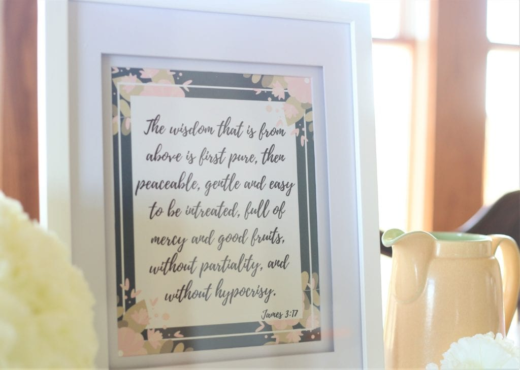 Scripture printable wisdom from above