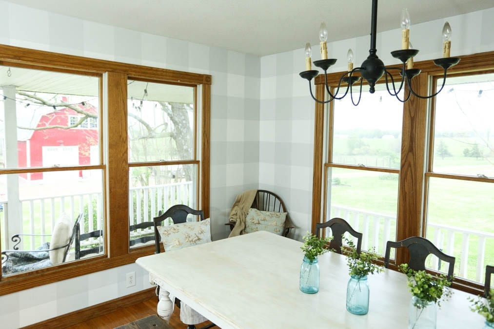 How to Paint Buffalo Check Walls–Our Dining Room