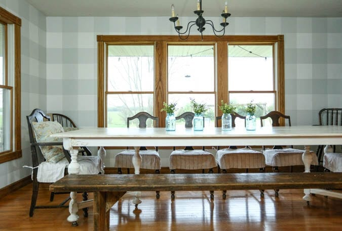 Dining Room with Buffalo Check walls