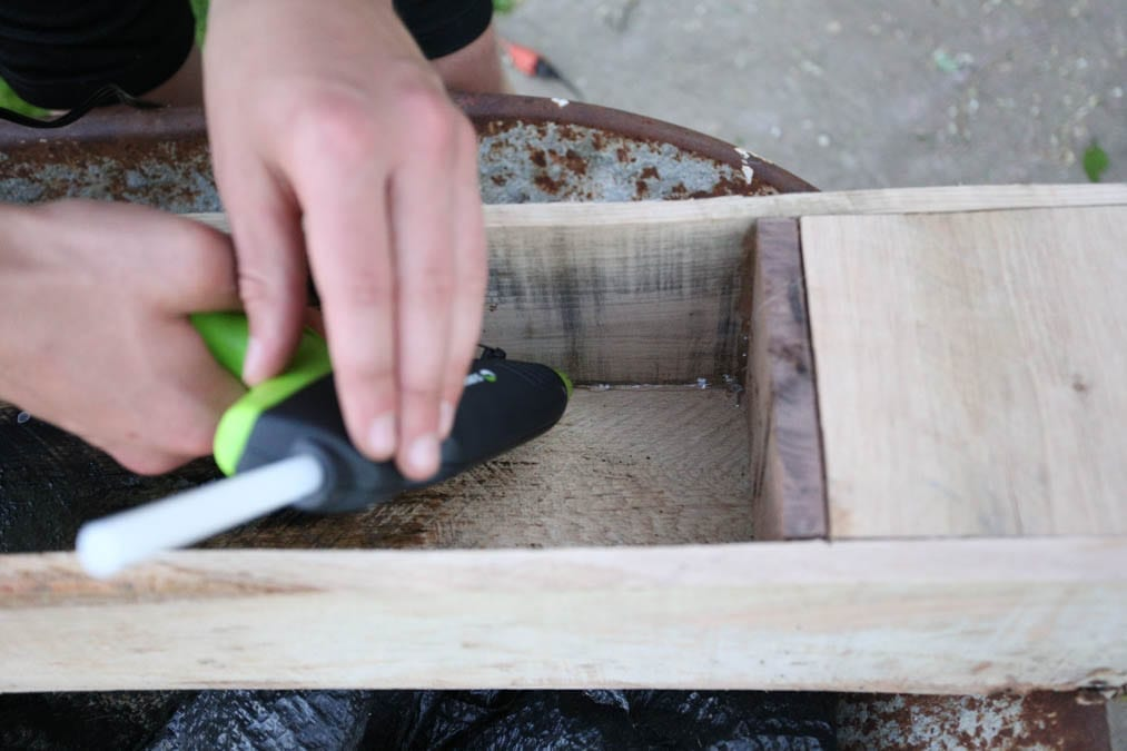 hot gluing the seams of the planter