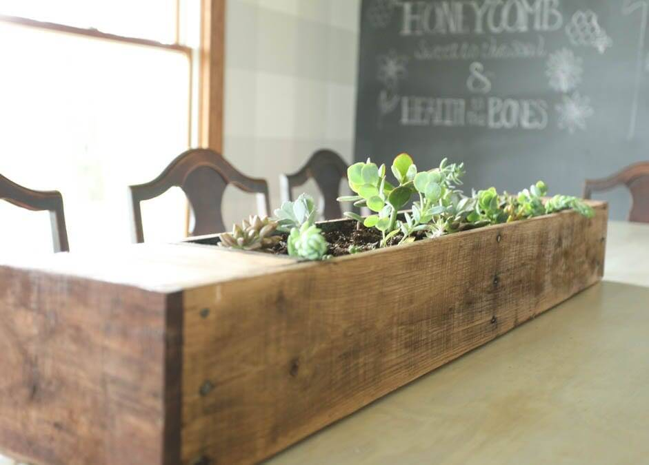 pallet wood succulent planter on dining room table