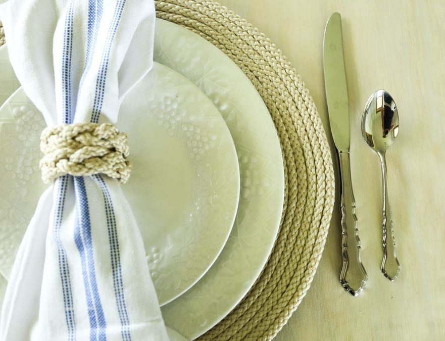 handmade farmhouse plate chargers and napkin rings
