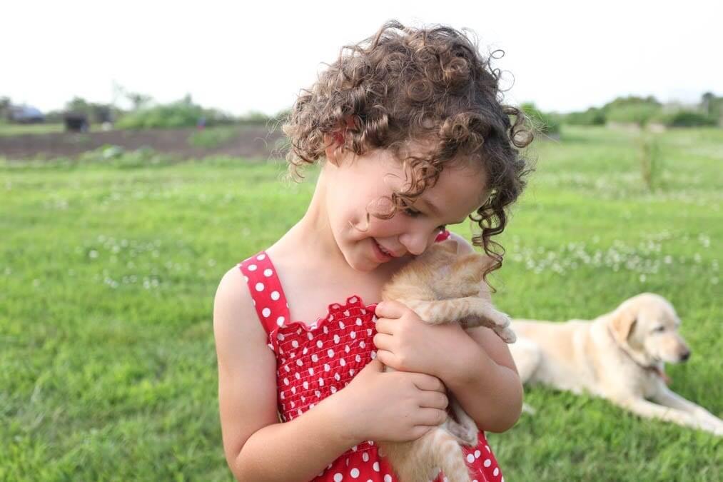 girl in shirred sundress kitten