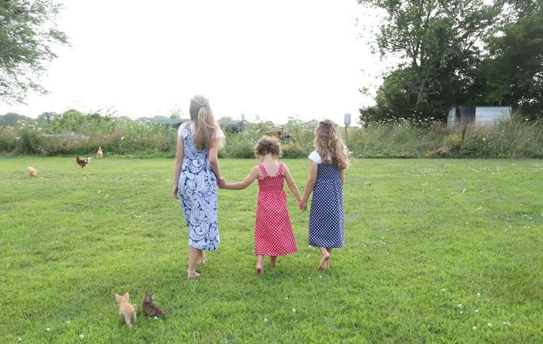 little girls walking sundresses