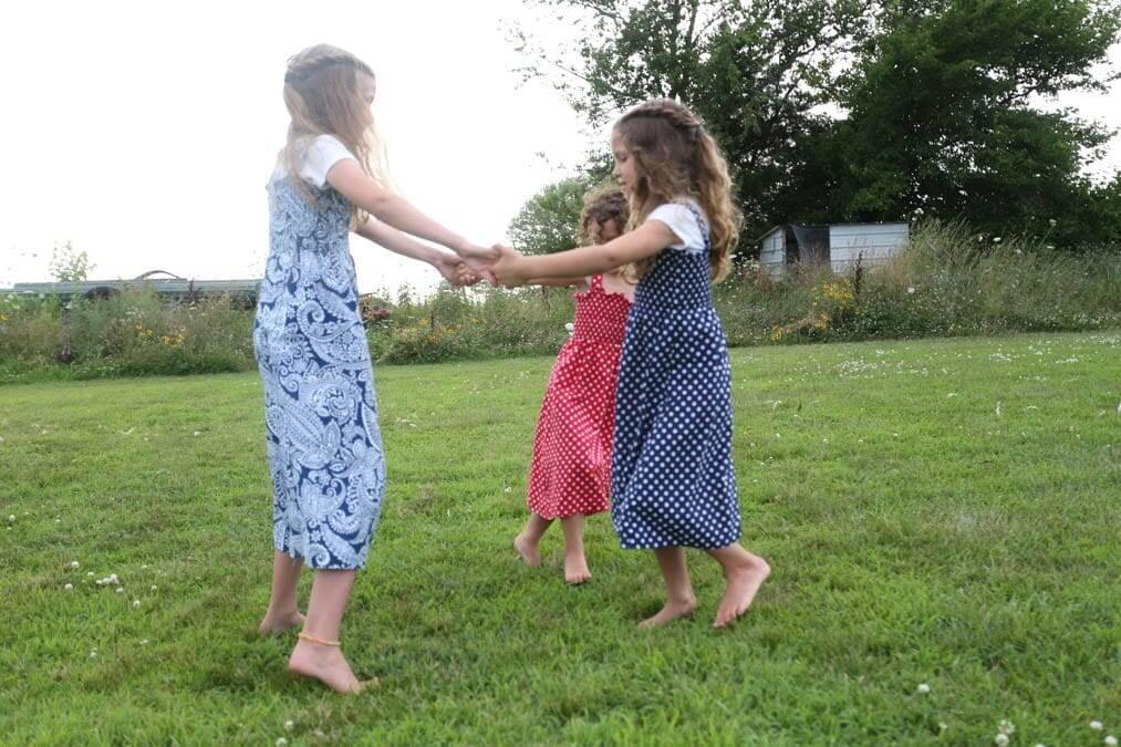 girls dancing shirred sundress