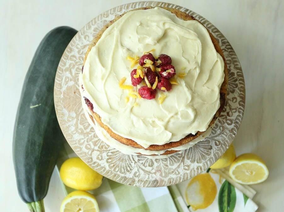 zucchini cake with raspberries and lemon