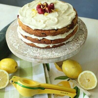 Zucchini Raspberry Cake with Lemon Cream Cheese Frosting