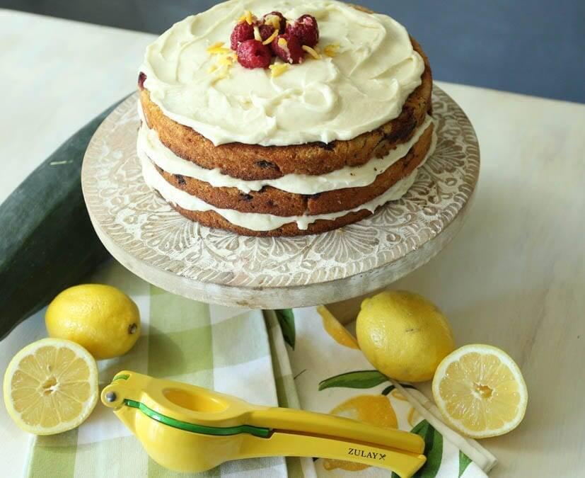 Zucchini Raspberry Cake with Lemon Cream Cheese Frosting
