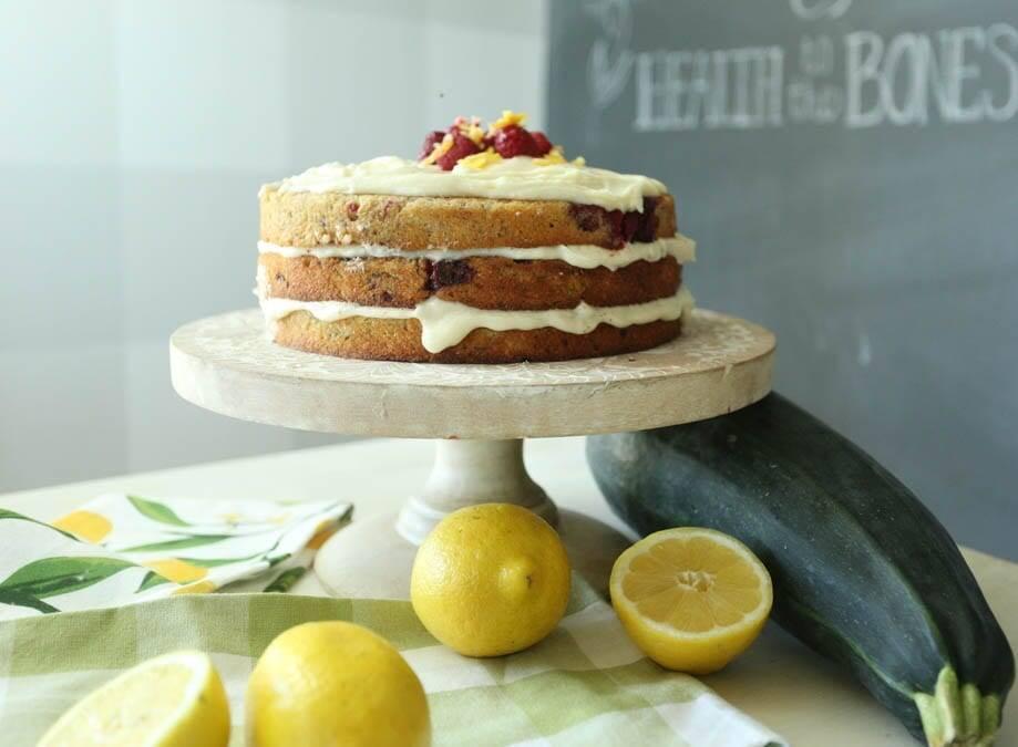 zucchini cake with raspberries and lemon cream cheese frosting