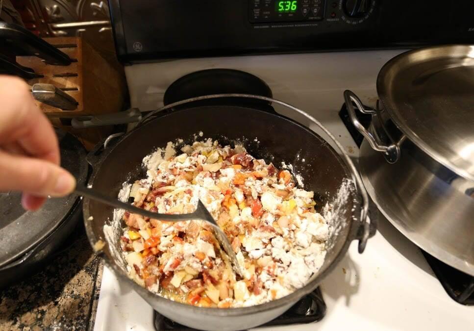 making roux for potato soup