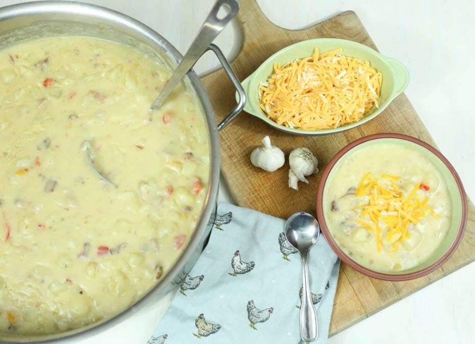 Homemade potato soup with bacon