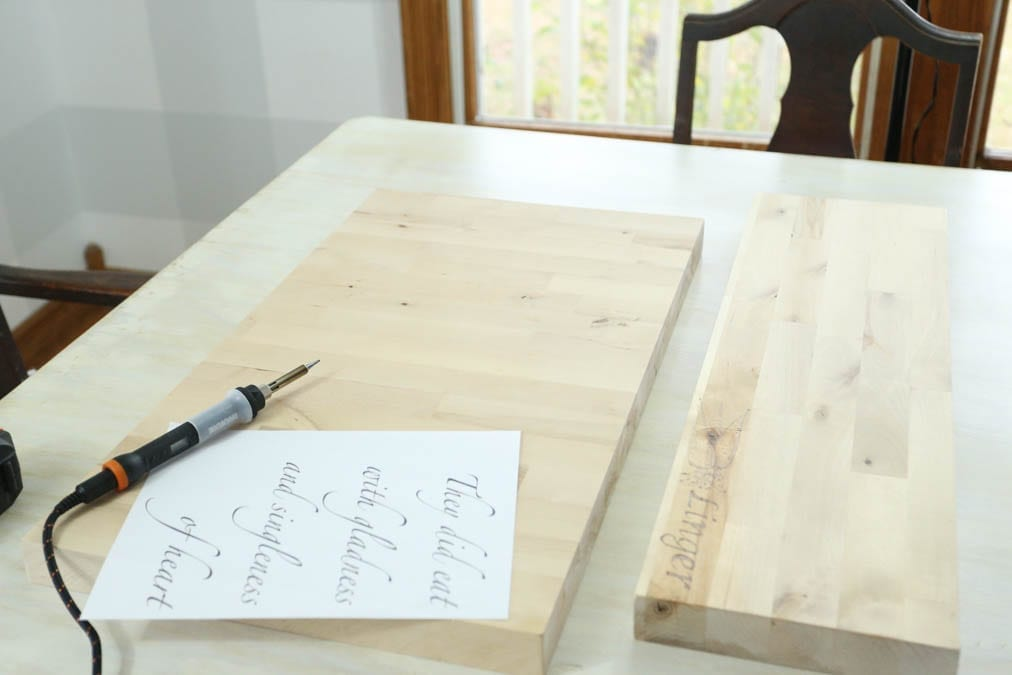 setting up to wood burn on a charcuterie board