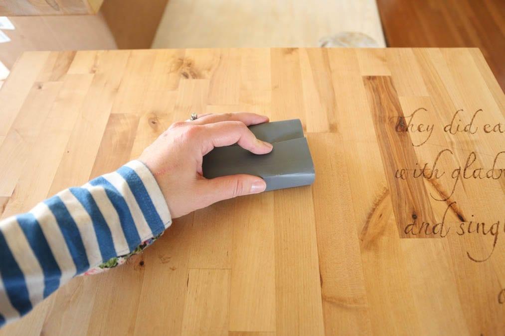 Sanding a Charcuterie board