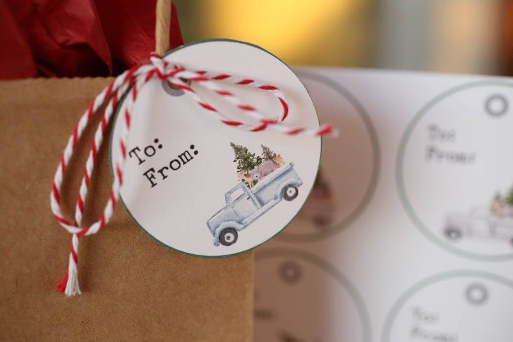 free christmas truck tags