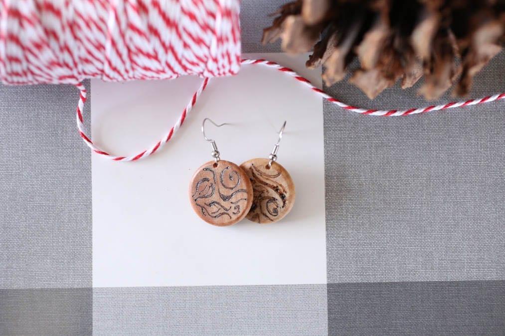 wood burned earrings gift