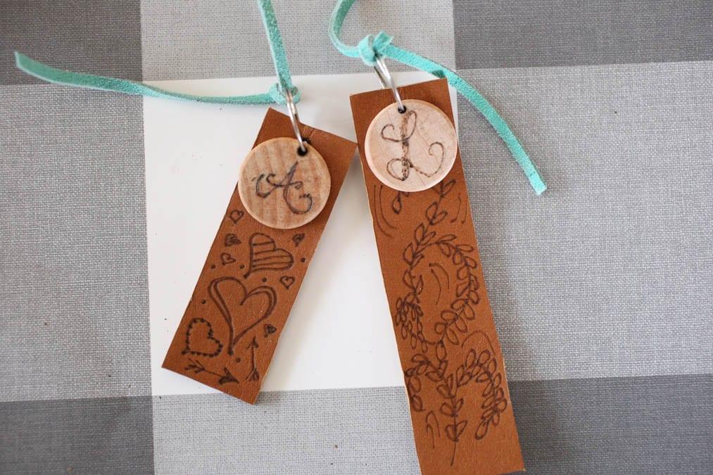 wood burned bacpack tags
