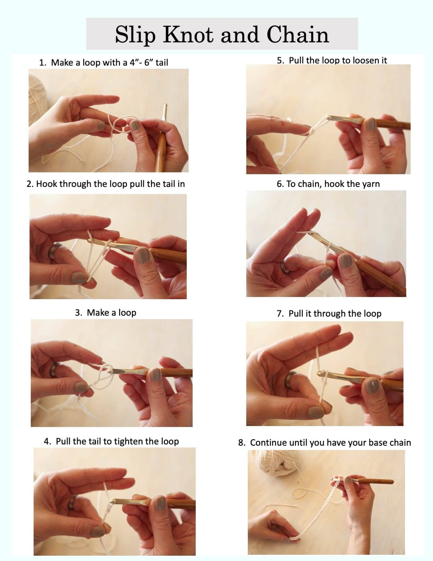 Slip knot chain tutorial
