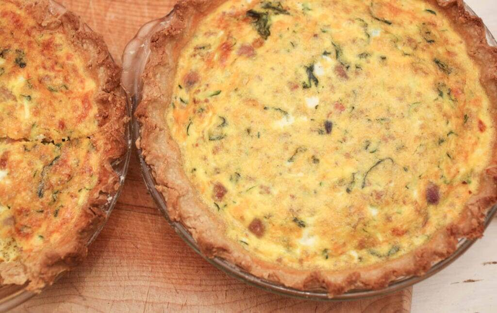 Quiche with oat and whole wheat pie crust