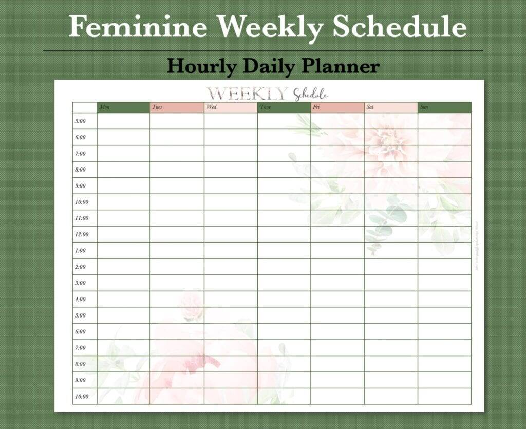 free weekly schedule to simplify your life