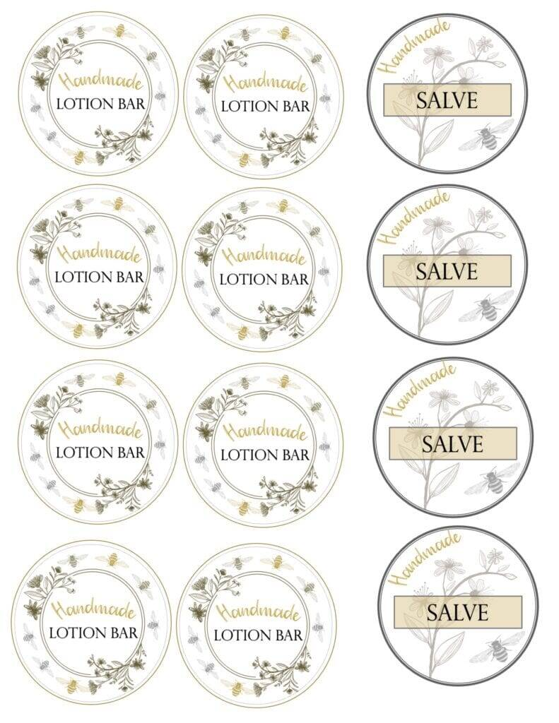 Lotion Bar labels
