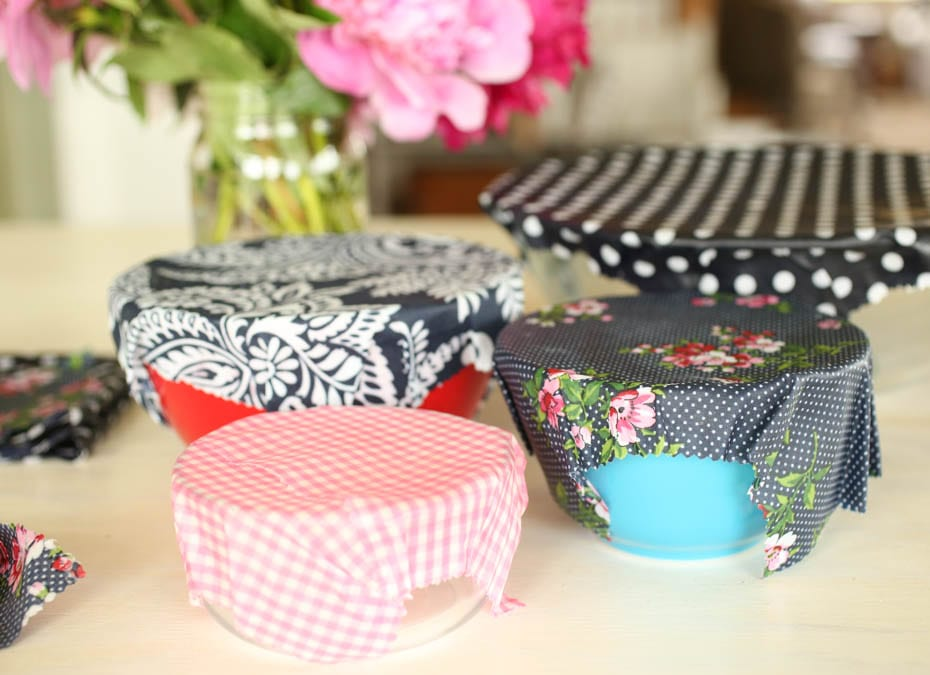 diy beeswax wraps on bowls