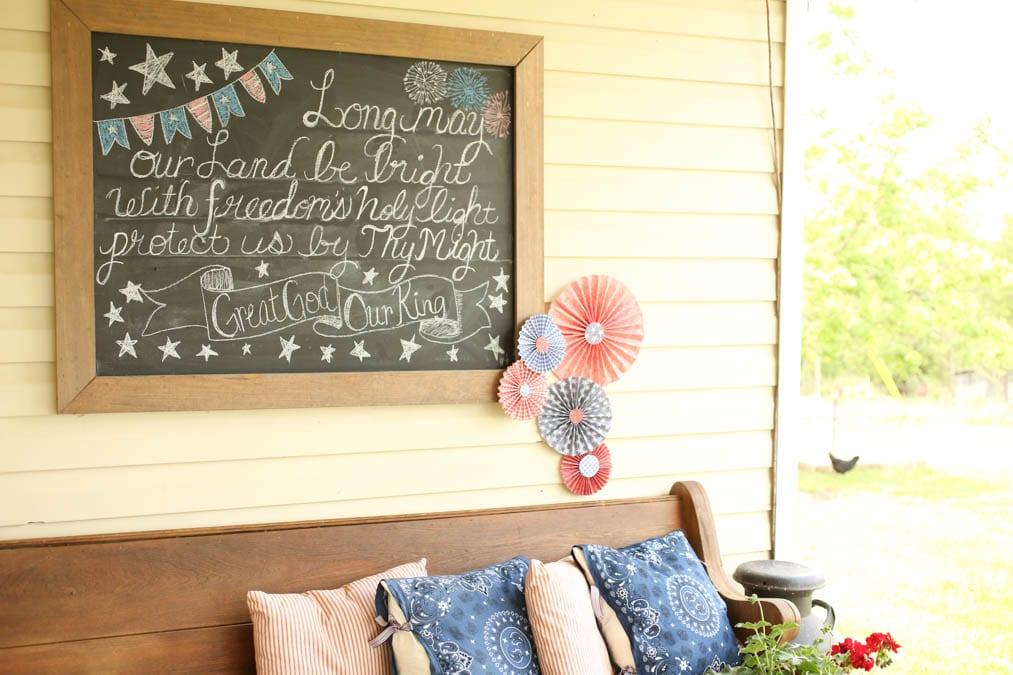 chalkboard outdoor patriotic decorations