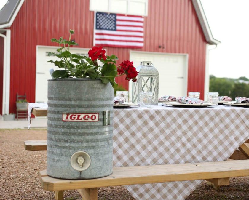 red geranium patriotic outdoor decorations