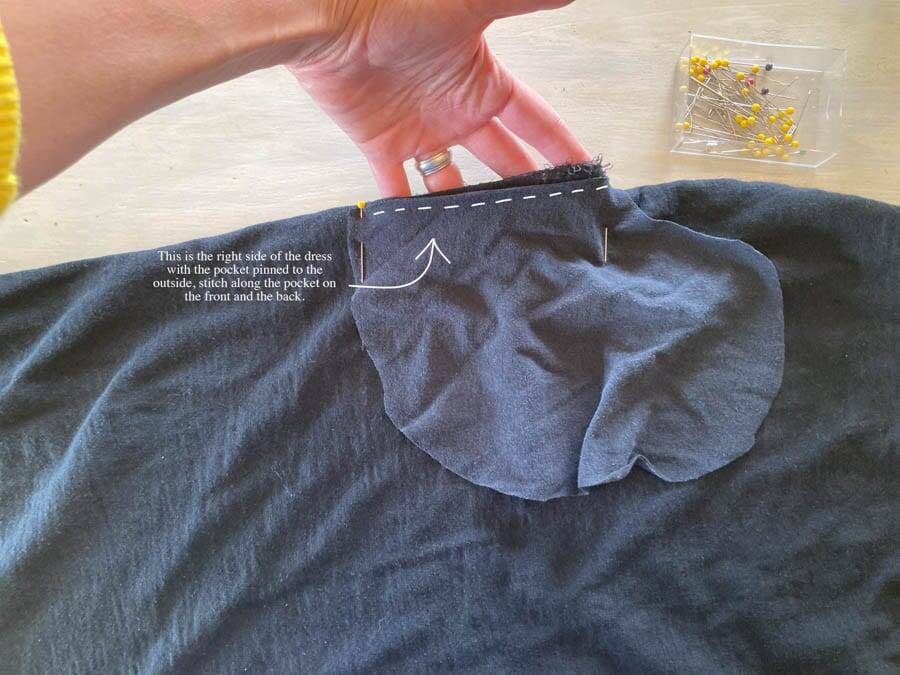 stitching a pocket in a dress