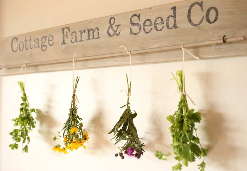 This DIY Herb drying rack is perfect for hang drying herbs and flowers.  It is simple to make and looks lovely hanging on the wall.