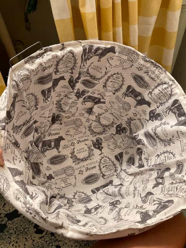 All done!  A custom bushel basket liner!  I